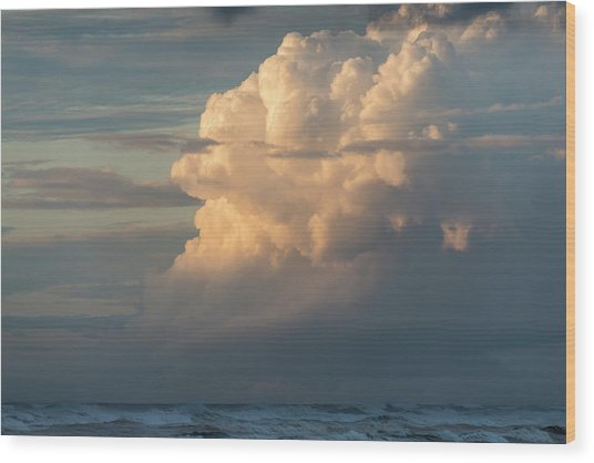 Clouds And Surf Wood Print
