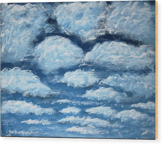 Wood Print featuring the painting Clouds by Antonio Romero
