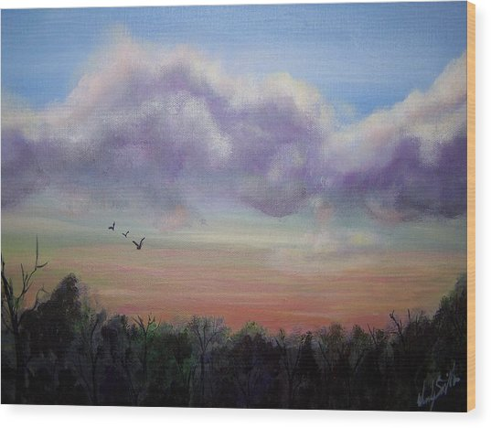 Clouds At Dusk Wood Print by Wendy Smith