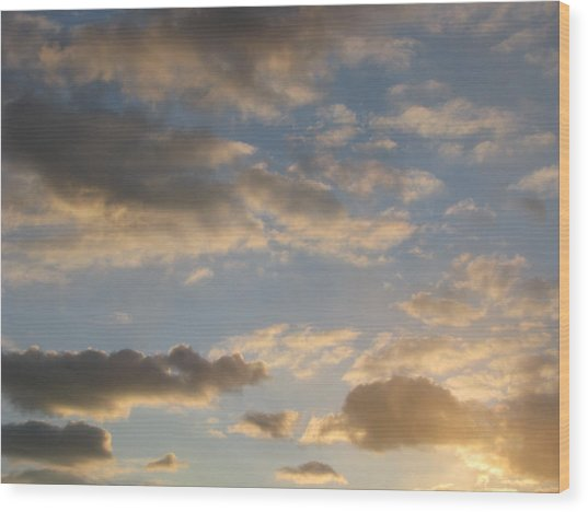 Clouds Wood Print by Hasani Blue