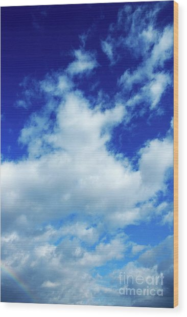 Clouds In A Beautiful Blue Sky Wood Print by Sami Sarkis