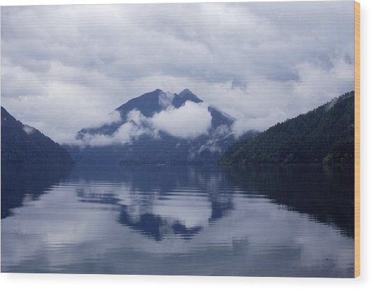 Clouds In The Lake Wood Print