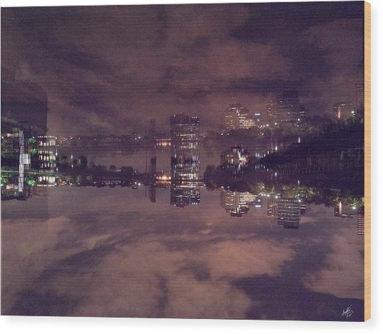 Clouds In The Passaic - Newark Nj Wood Print