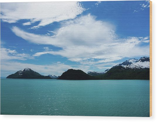 Clouds Mountains And Water Wood Print
