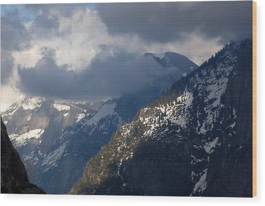 Clouds On Half Dome Wood Print by Richard Verkuyl