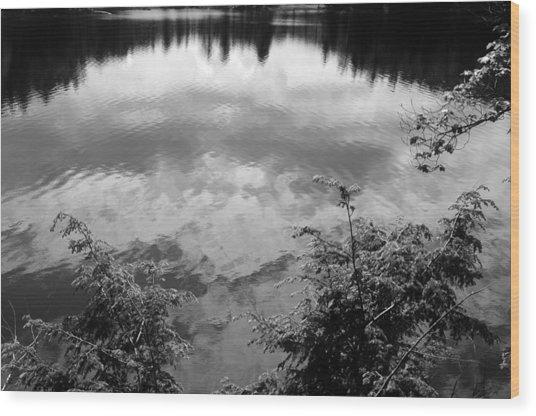 Clouds On Rock Pond Wood Print