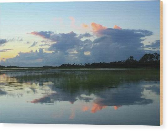 Clouds Over Marsh Wood Print