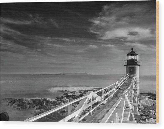 Clouds Over Marshall Point Lighthouse In Maine Wood Print