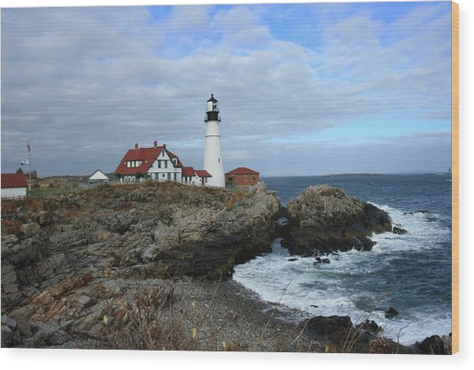 Clouds Over Portland Head Lighthouse Wood Print