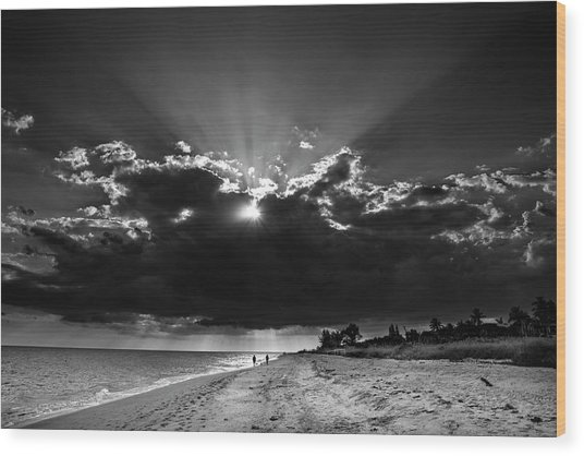 Clouds Over Sanibel Island Florida In Black And White Wood Print