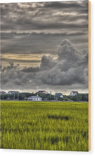 Clouds Over The Chapel Wood Print by Ginny Horton