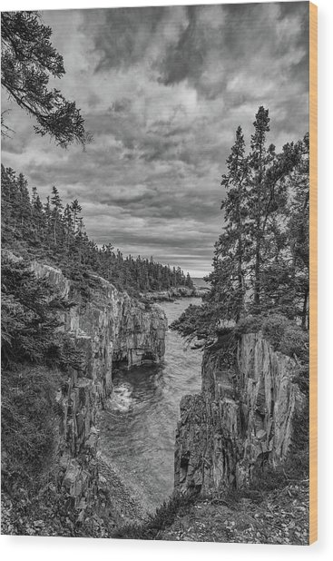 Clouds Over The Cliffs Wood Print