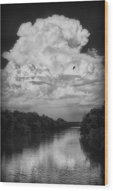 Clouds Over The Coosa River Wood Print