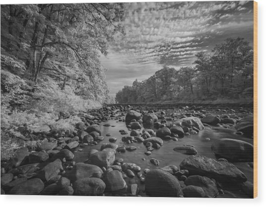 Clouds Over The River Rocks Wood Print