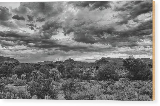 Clouds Over The Superstitions Wood Print