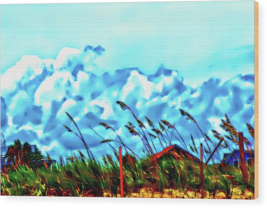 Clouds Over Vilano Beach Wood Print
