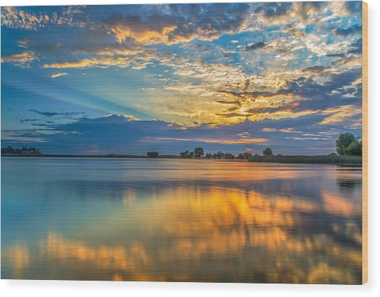 Clouds Reflected At Sunrise Wood Print