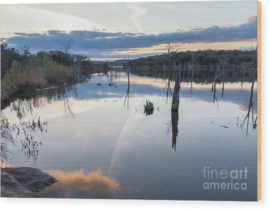 Clouds Reflecting On Large Lake During Sunset Wood Print