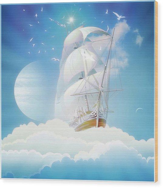 Cloudship Wood Print