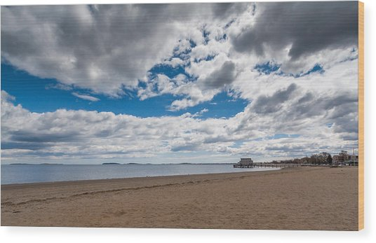 Cloudy Beach Day Wood Print