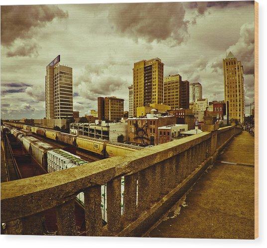 Cloudy Birmingham Wood Print