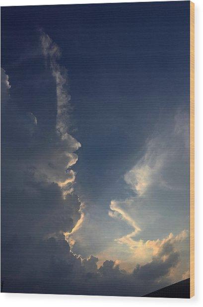 Cloudy Conversation Wood Print