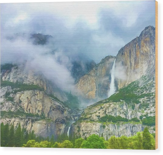 Cloudy Day At Yosemite Falls Digital Watercolor Wood Print