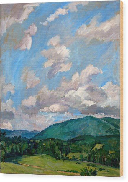 Cloudy Day Berkshires Wood Print