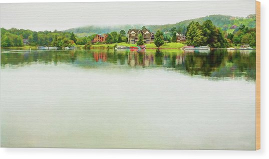 Cloudy Day On The Lake Wood Print