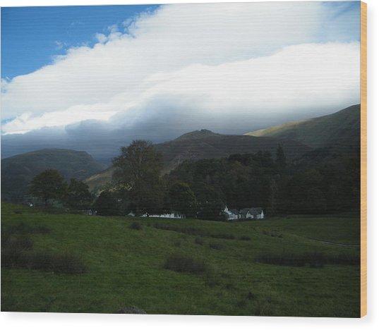 Cloudy Hills Wood Print
