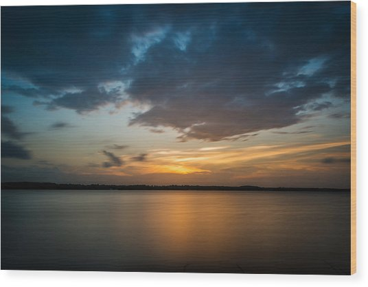 Cloudy Lake Sunset Wood Print