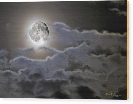 Cloudy Moon Wood Print