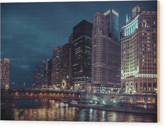 Cloudy Night Chicago Wood Print