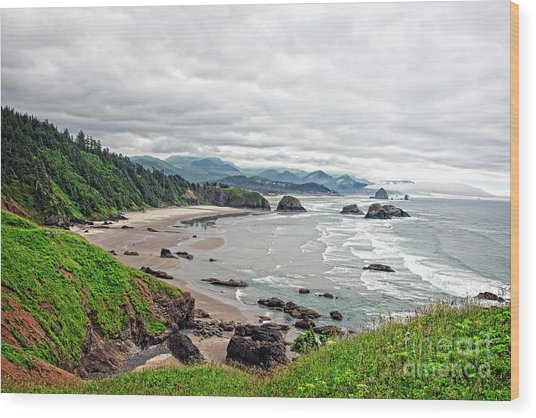 Cloudy Oregon Coast From Ecola Park Wood Print by Lincoln Rogers