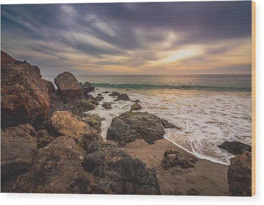 Cloudy Point Dume Sunset Wood Print