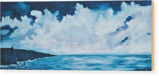 Cloudy Skies Over The Cliffs Of Moher Wood Print