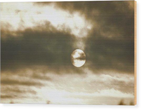 Cloudy Sun Wood Print