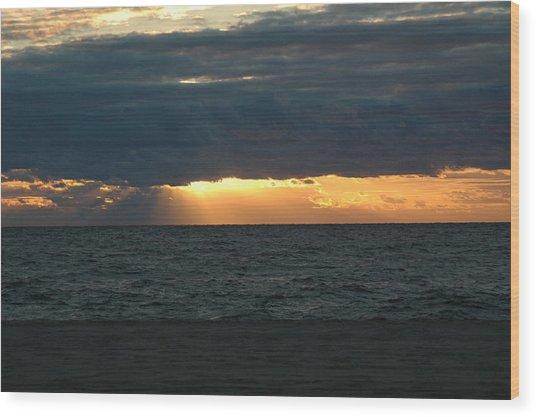 Cloudy Sunrise Wood Print by See Me Beautiful Photography