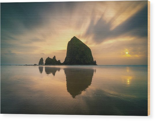 Cloudy Sunset At Cannon Beach Wood Print
