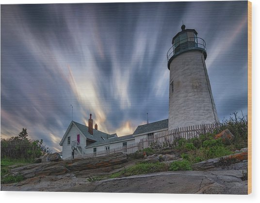 Cloudy Sunset At Pemaquid Point Wood Print