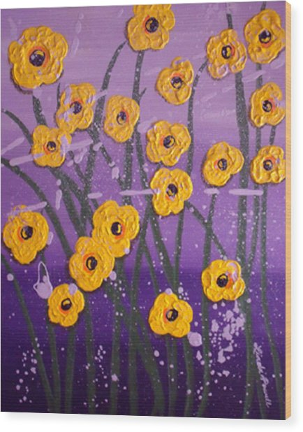 Cloudy With A Chance Of Flowers Wood Print by Linda Powell