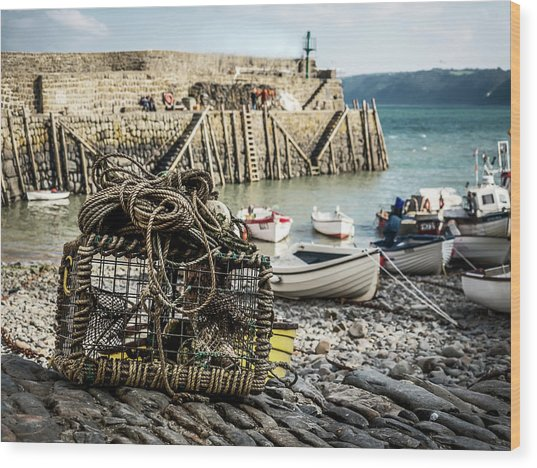 Clovelly Crab Trap Wood Print