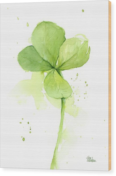 Clover Watercolor Wood Print