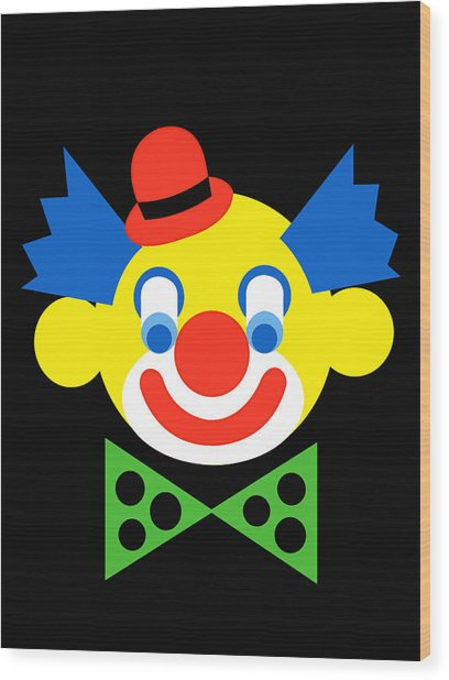 Clown Wood Print by Asbjorn Lonvig