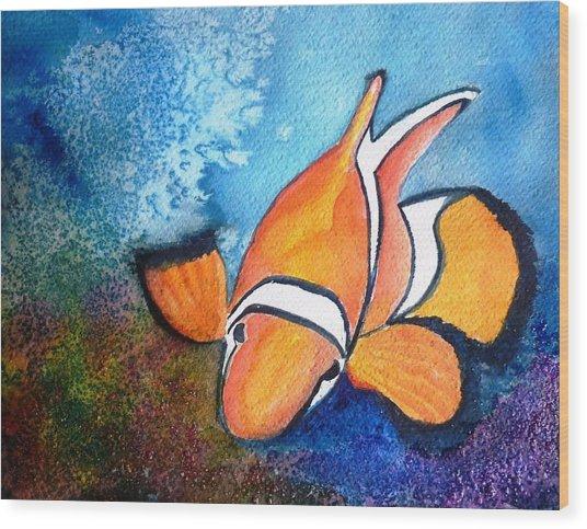 Clown Fish Wood Print