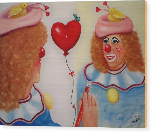 Clown Painting Wood Print