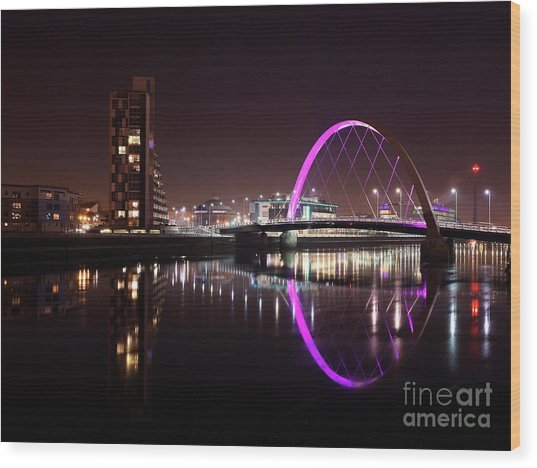 Clyde Arc Night Reflections Wood Print