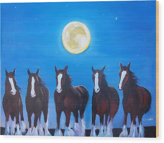 Clydesdales In Moonlight Wood Print