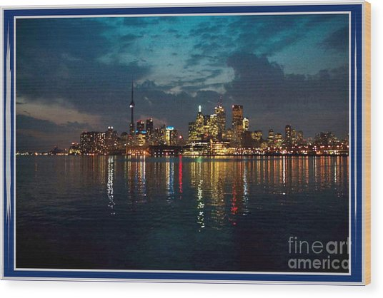 Cn  Tower And Toronto Down Town Water Front Beauty At Night Full Blast Photo Wood Print