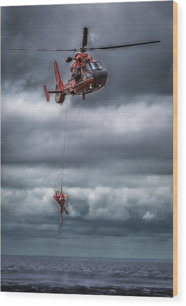 Coast Guard Rescue Operation  Wood Print